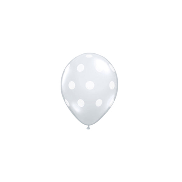 Mini White Polka Dot Clear Balloons (Pack of 5)  Printed Mini Latex Balloons qualatex - Hello Party