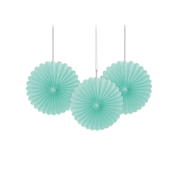 Mini Mint Paper Fans 3pk  Paper Fans Unique - Hello Party