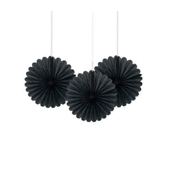 Mini Black Paper Fans 3pk  Paper Fans Unique - Hello Party