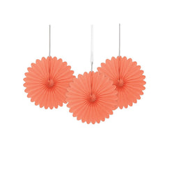 Mini Coral Paper Fans 3pk  Paper Fans Unique - Hello Party
