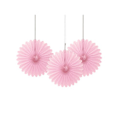 Mini Pink Paper Fans 3pk  Paper Fans Unique - Hello Party