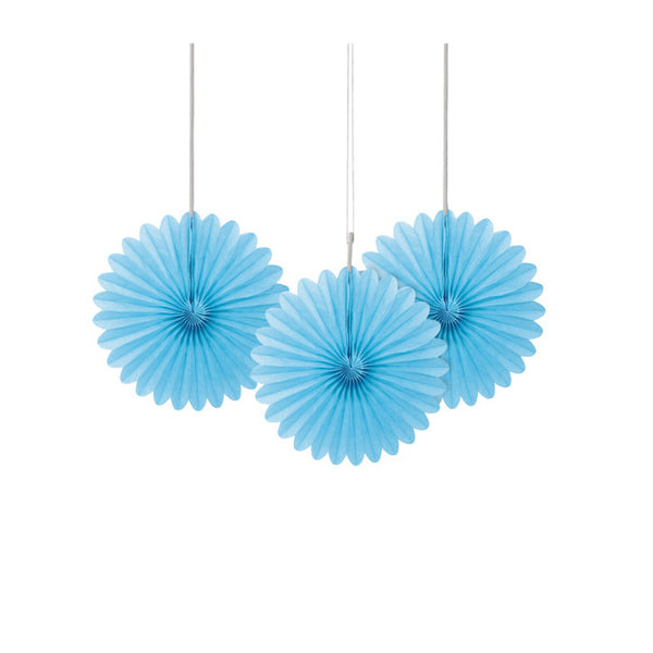Mini Powder Blue Paper Fans 3pk