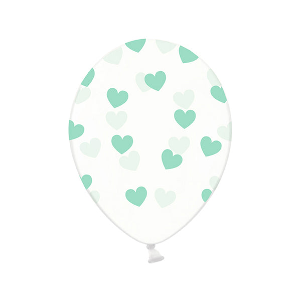 Mint Heart Pattern Clear Party Latext Biodegradable Balloons (Pack of 3)