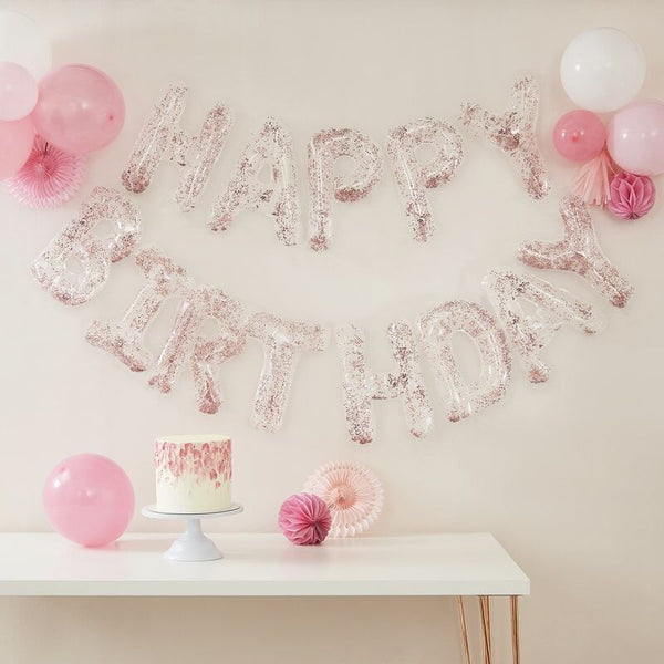 Clear Rose Gold Confetti Filled Happy Birthday Foil Balloon Kit