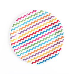 Rainbow Wavy Paper Plates  Party Plates Neviti - Hello Party
