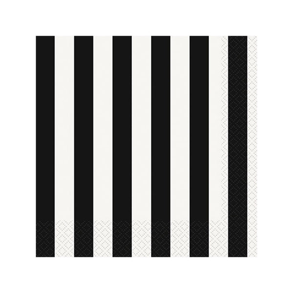 Black Striped Napkins  Napkins Hello Party - All you need to make your party perfect!  - Hello Party