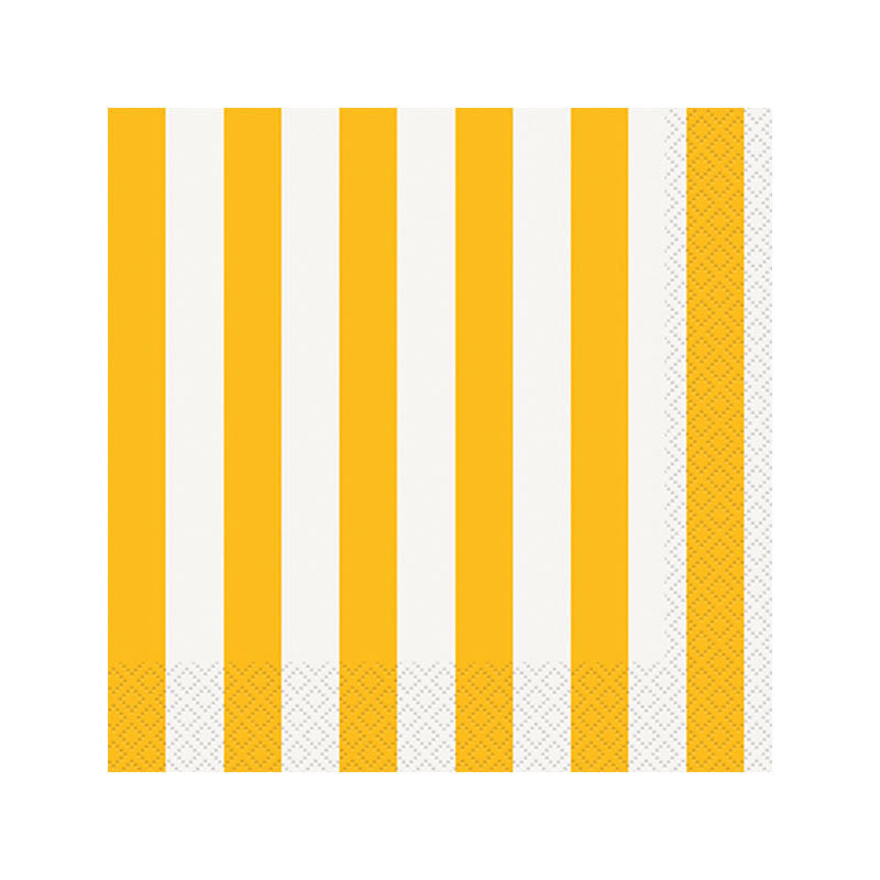 Yellow Striped Napkins  Napkins Hello Party - All you need to make your party perfect!  - Hello Party