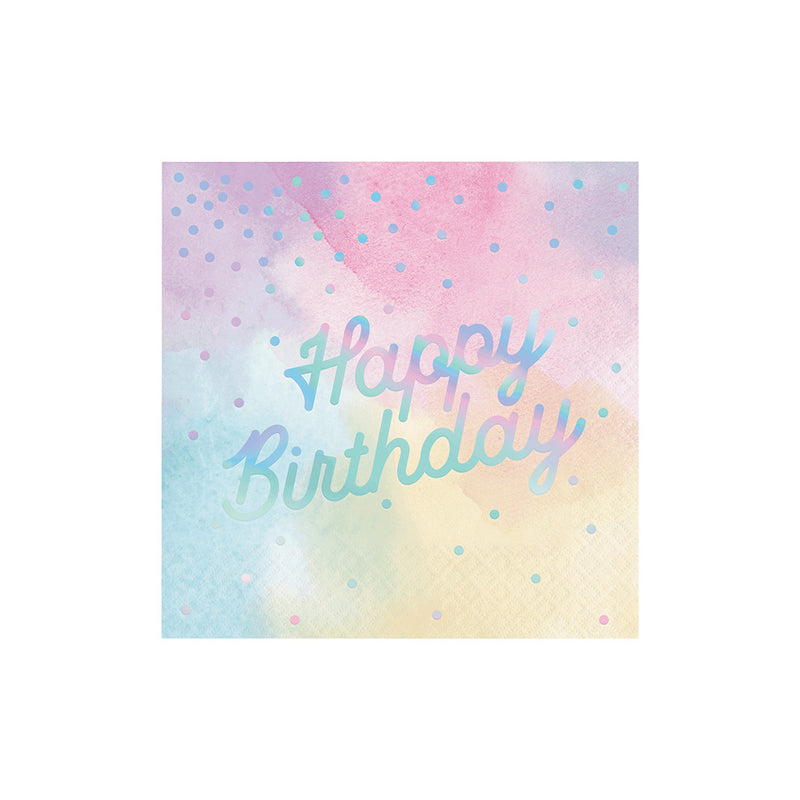 Pastel Iridescent Happy Birthday Napkins  Napkins Creative Converting - Hello Party
