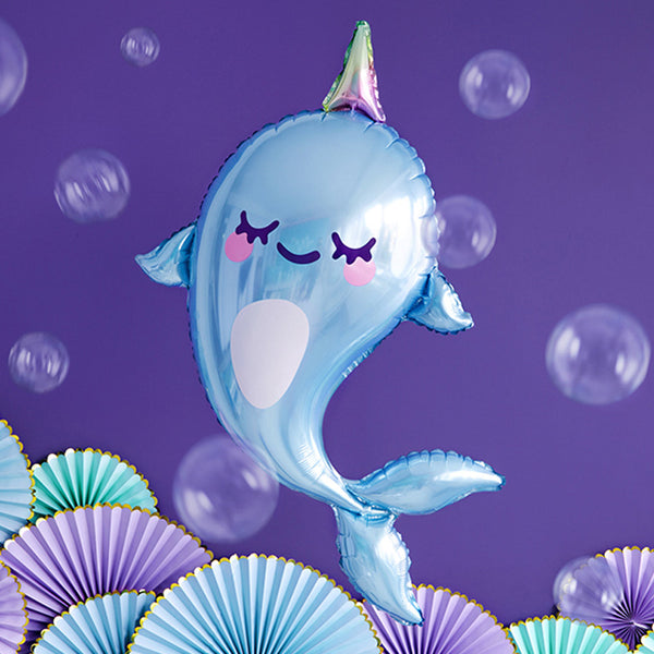 Cute Blushing Narwhal Foil Balloon  Supershape Balloons Party Deco - Hello Party