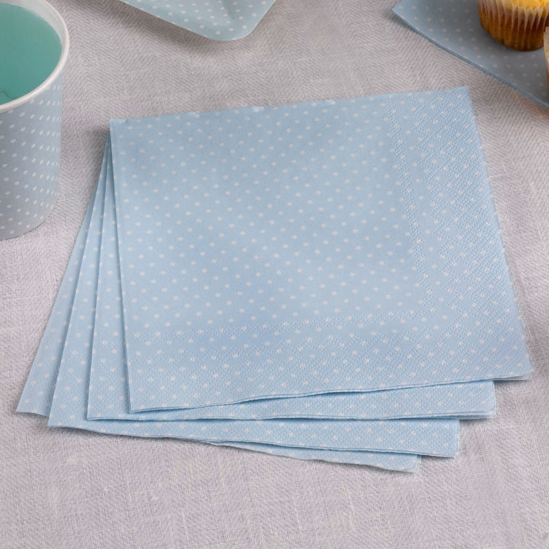 Polka Dot Napkins - Blue - 20  Napkins Neviti - Hello Party