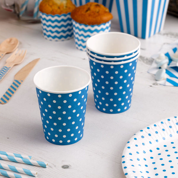 blue dotty cups  Party Cups Neviti - Hello Party