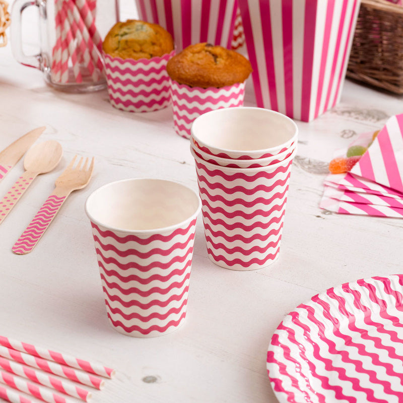 Carnival - Paper Cups - Waves Red - 8 - Hello Party - All you need to make your party perfect!
