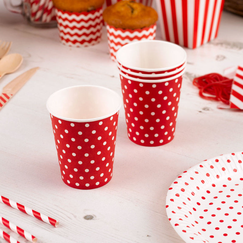 red dotty cups  Party Cups Neviti - Hello Party