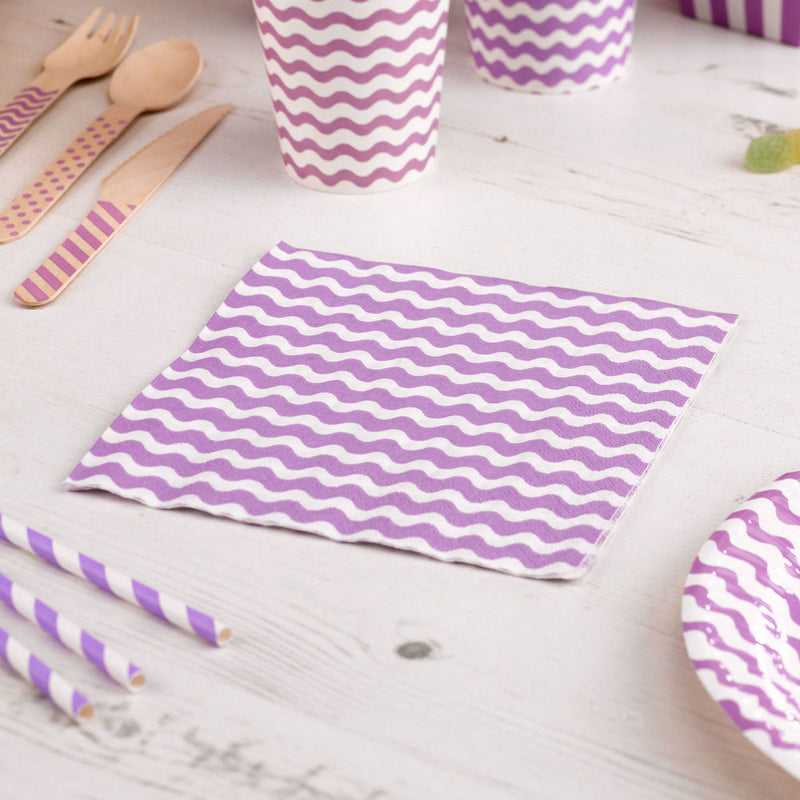 Carnival - Napkins - Waves Purple - 20 - Hello Party - All you need to make your party perfect!