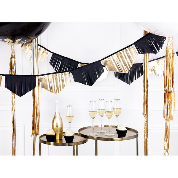 Black & Gold Fringe Paper Garland
