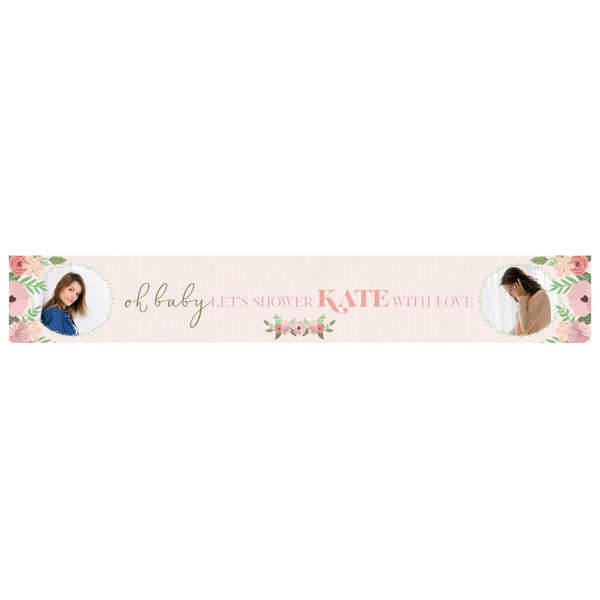 Oh Baby! Personalisable Baby Shower Banner with spaces for 2 photos and a name