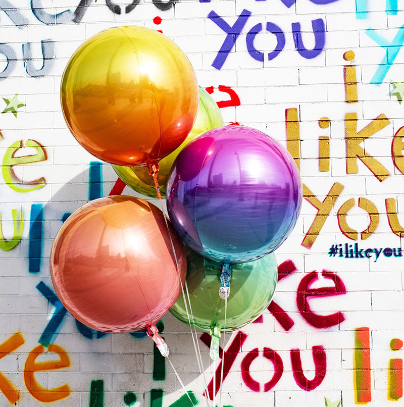 Red to Green Ombré Orbz Balloon  orb balloon Anagram - Hello Party