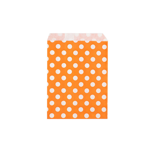 Orange polka dot paper party bags