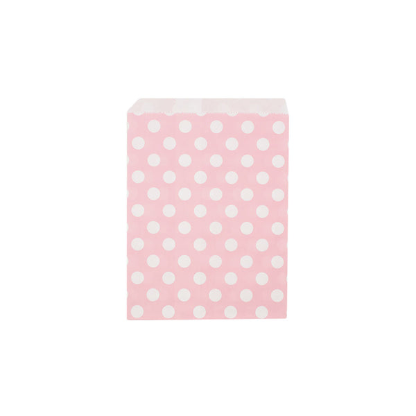 Light pink polka dot paper party bags