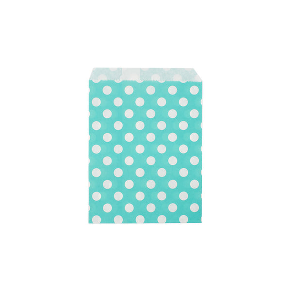 Mint polka dot paper party bags