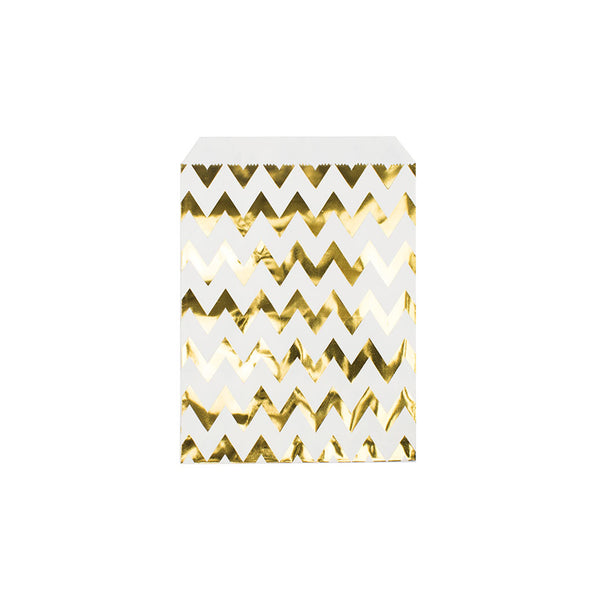 Shiny gold chevron paper party bags