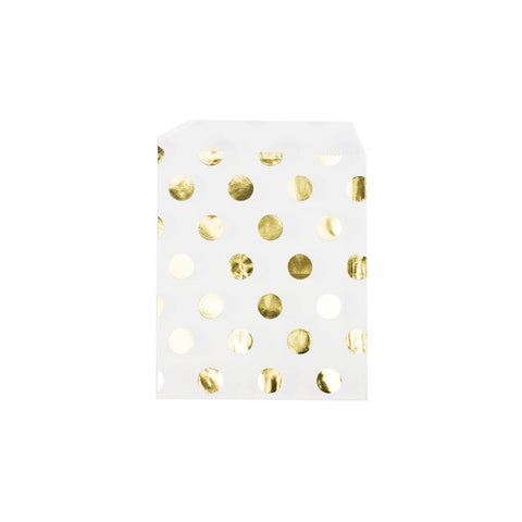 Shiny gold polka dot paper party bags