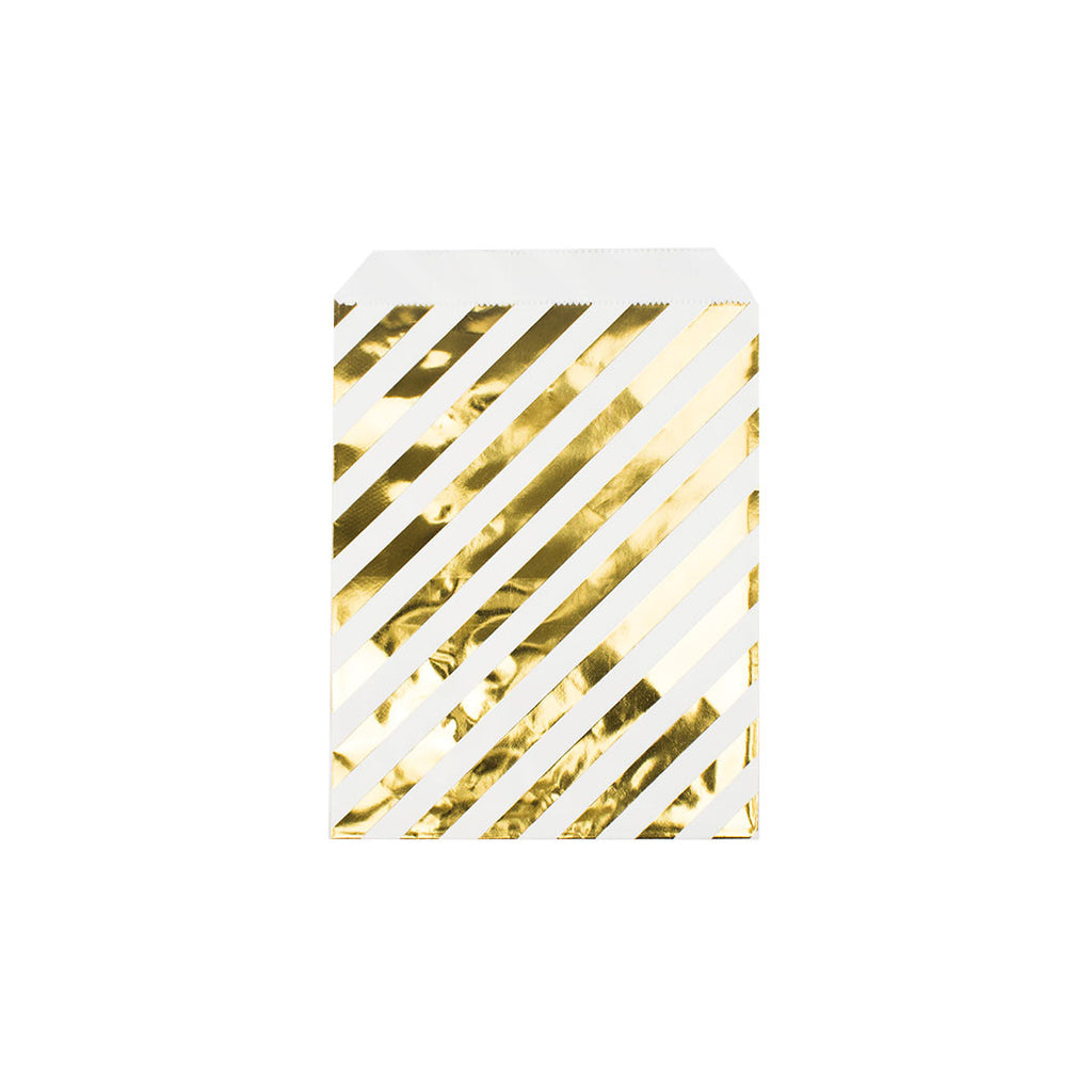 Shiny gold diagonal striped paper party bags