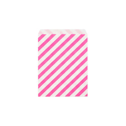 Bright pink diagonal striped paper party bags  Party Bags Hello Party Essentials - Hello Party