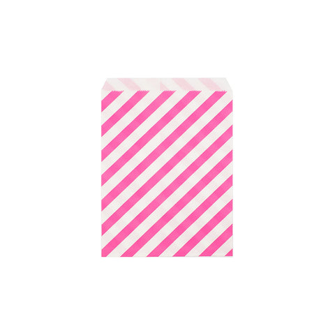 Bright pink diagonal striped paper party bags