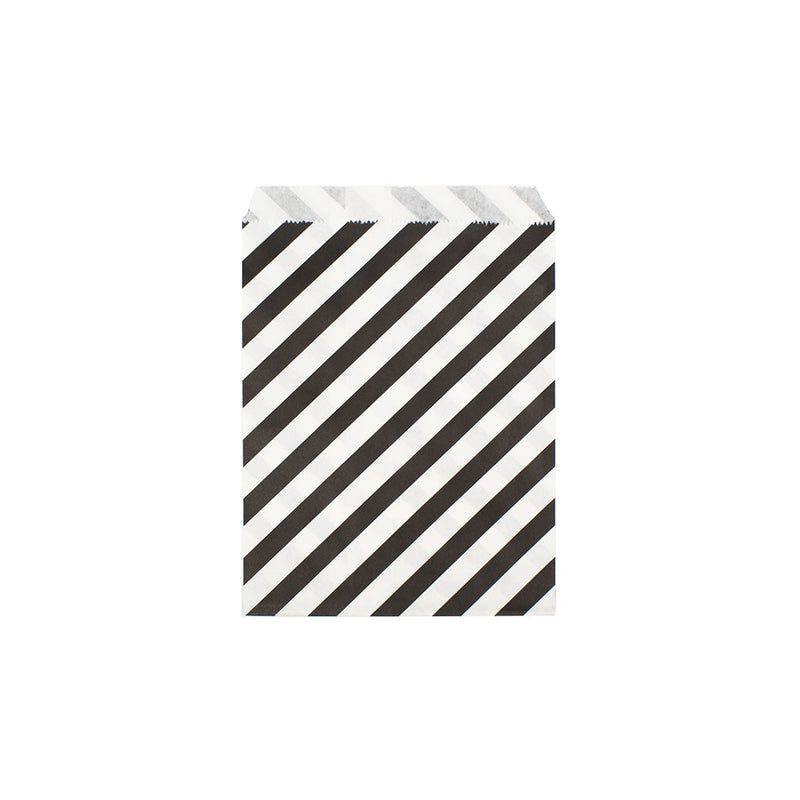 Black diagonal striped paper party bags  Party Bags Hello Party Essentials - Hello Party
