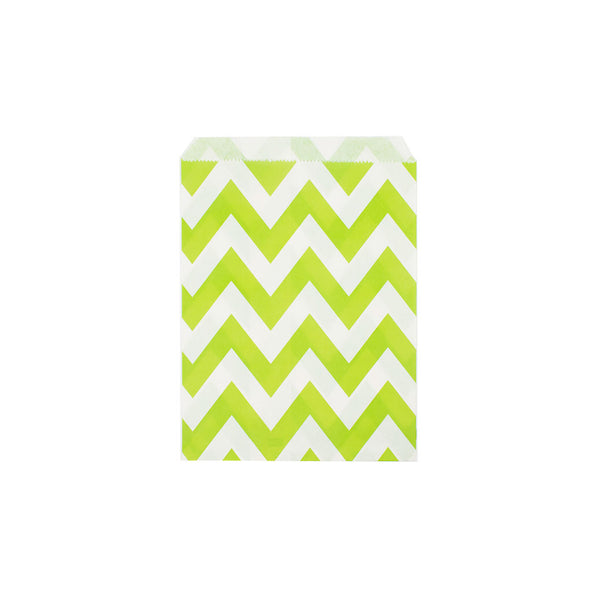 Lime green chevron paper party bags