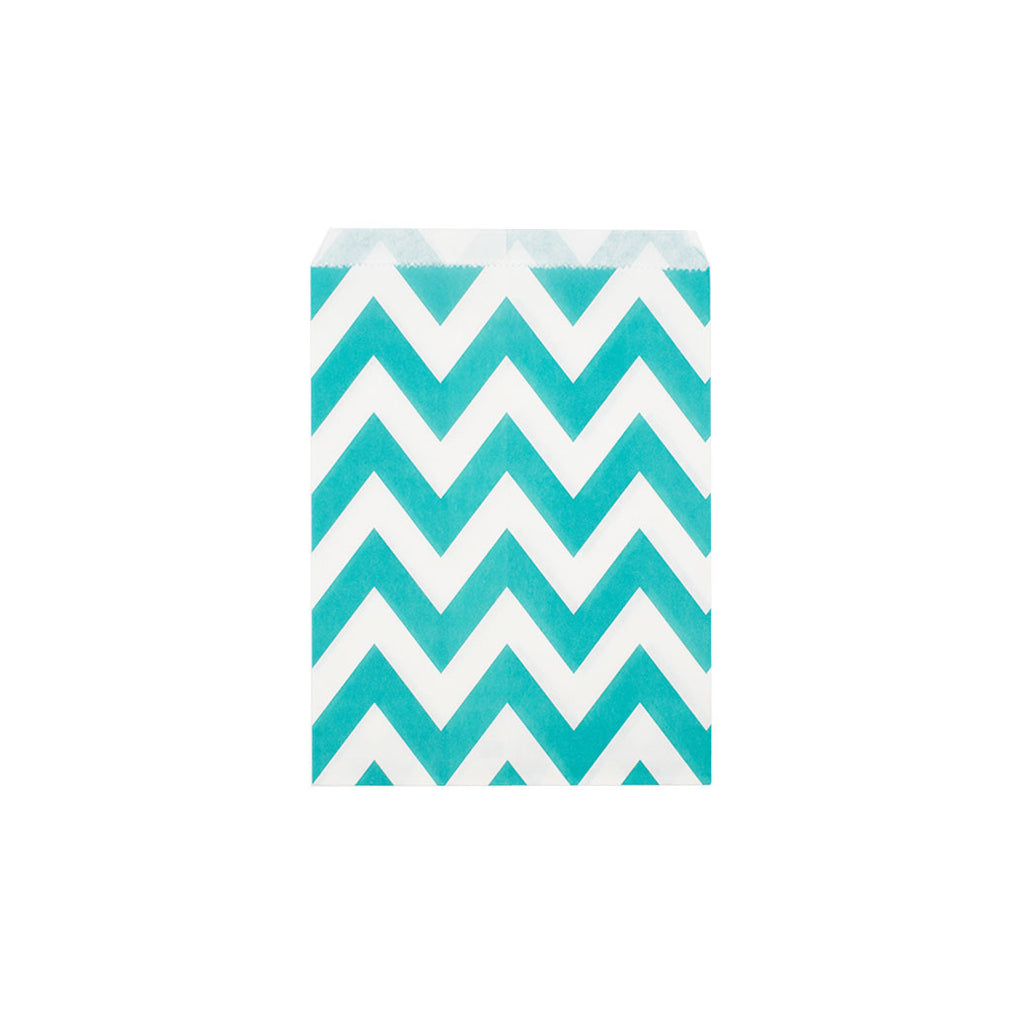 Turquoise chevron paper party bags