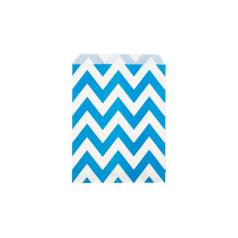 Blue chevron paper party bags