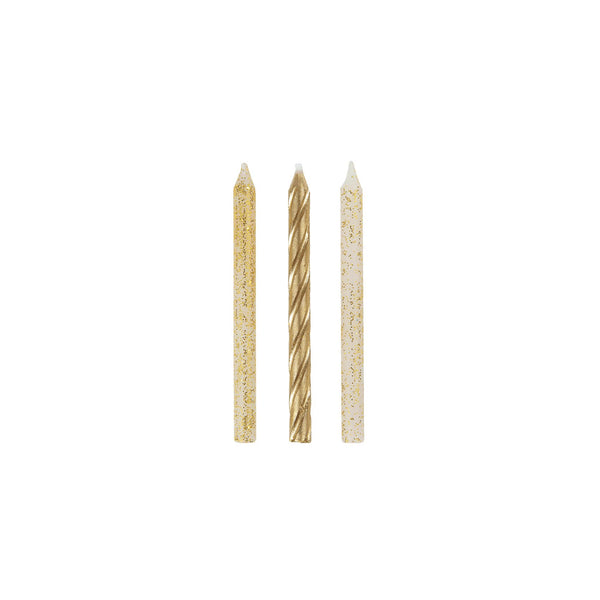Gold Glitter & Spiral Birthday Cake Candles