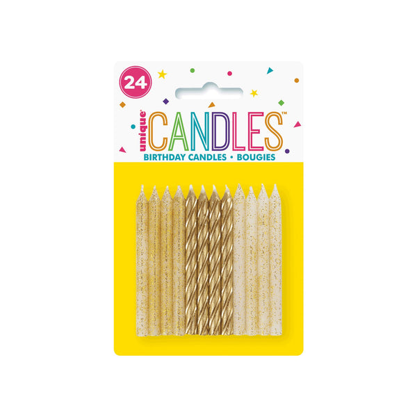 White and Gold Glitter & Spiral Cake Candles