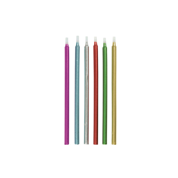 Tall Metallic Birthday Cake Candles