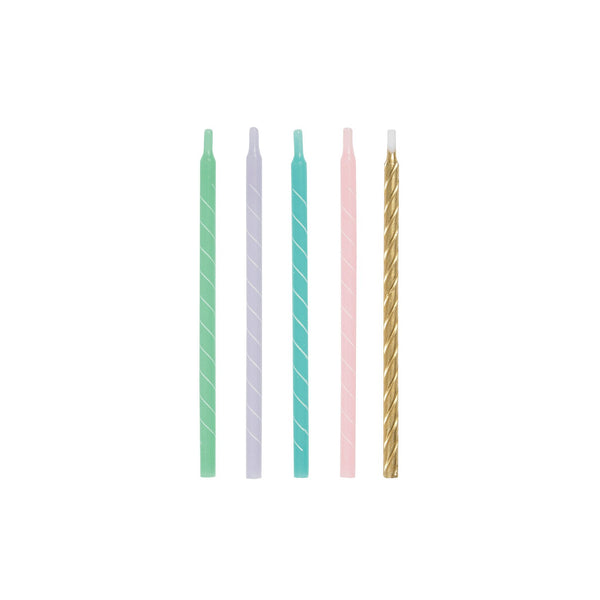 Tall Assorted Pastel Spiral Birthday Cake Candles