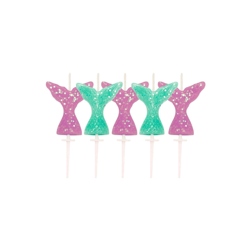 Glitter Mermaid Tail Birthday Cake Candles