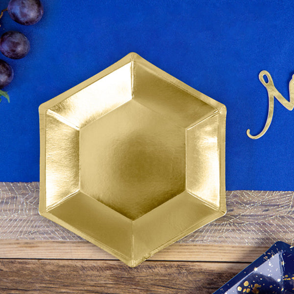 Luxe Hexagonal Gold Plates  Party Plates Party Deco - Hello Party