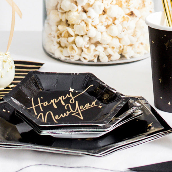 Happy New Year Mini Canape Plates  Party Plates Party Deco - Hello Party