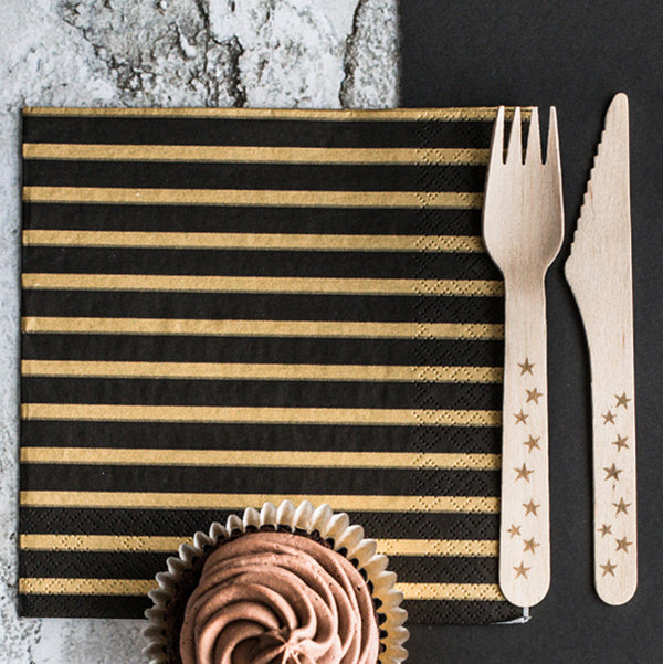 Gold Striped Black Napkins