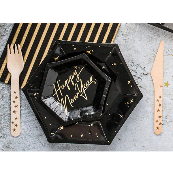 Golden Midnight Small Plates  Party Plates Party Deco - Hello Party