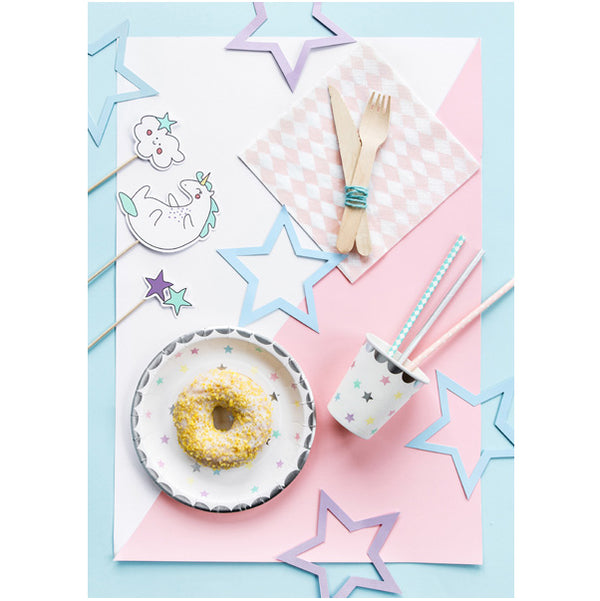 Pastel Rainbow Stars Unicorn Party Plates
