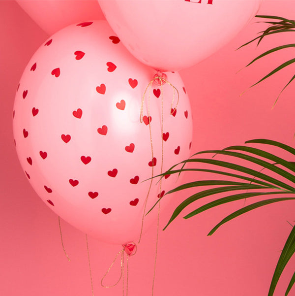 Little Red Hearts Pink Balloons (pack of 5)  Printed Latex Balloons Party Deco - Hello Party