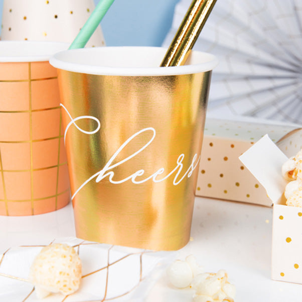 Cheers! Gold Paper Cups  Party Cups Party Deco - Hello Party