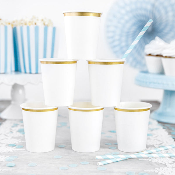 Luxe White And Gold Paper Cups  Party Cups Party Deco - Hello Party