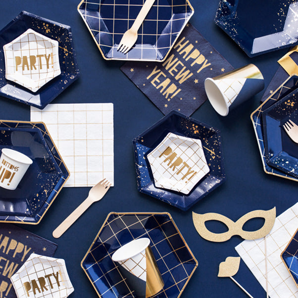 Gold Grid Party Mini Canape Plates  Party Plates Party Deco - Hello Party
