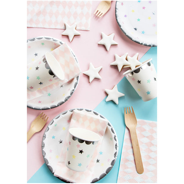 Pastel Rainbow Stars Plates  Party Plates Party Deco - Hello Party