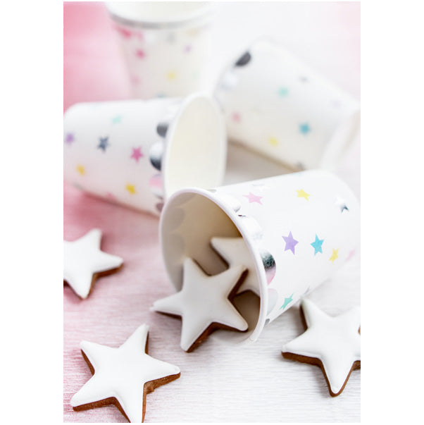 Pastel Rainbow Stars Paper Cups  Party Cups Party Deco - Hello Party