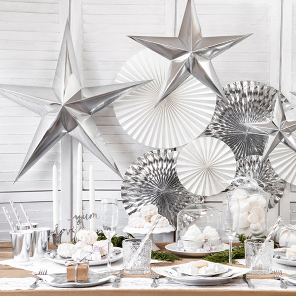 Silver Paper Star Hanging Decoration (30cm)  Hanging Decorations Party Deco - Hello Party